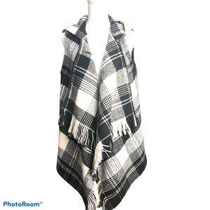 Black and White Checkered Poncho/Shawl /Vest